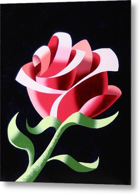 Metal Print featuring the painting Abstract Geometric Cubist Rose Oil Painting 3 by Mark Webster