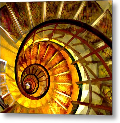 Abstract Golden Nautilus Spiral Staircase Metal Print by Elaine Plesser