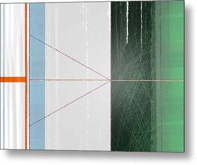 Abstract Green And Orange Metal Print