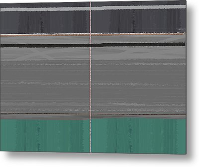 Abstract Grey And Green Metal Print by Naxart Studio