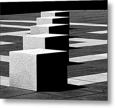 Abstract In Black And White Metal Print by Tam Graff