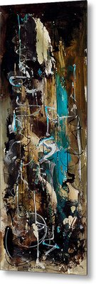 Abstract In Blue And Brown Metal Print