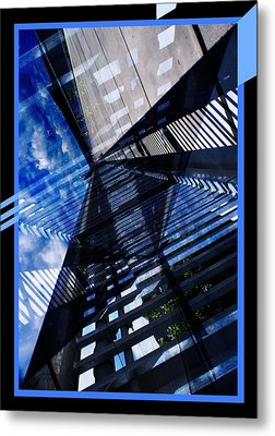 Abstract In Blue And Cement Metal Print by Matthew Green