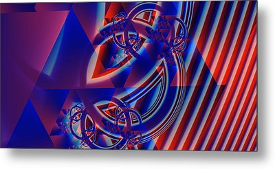 Metal Print featuring the digital art Abstract In Red And Blue by Mario Carini
