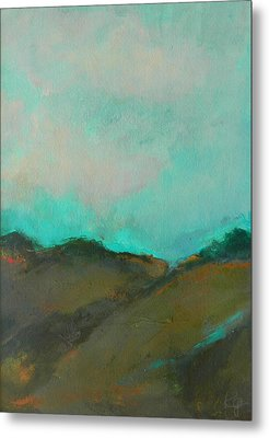 Abstract Landscape - Turquoise Sky Metal Print by Kathleen Grace
