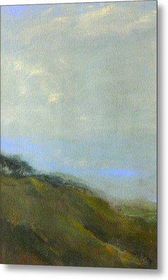 Abstract Landscape - Green Hillside Metal Print by Kathleen Grace