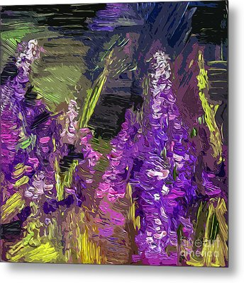 Abstract Lupines Decorative Art By Ginette Metal Print by Ginette Callaway