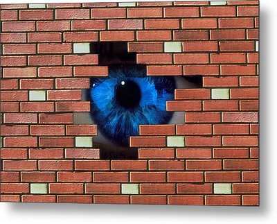 Abstract Of Eye Looking Through Hole In Brick Wall Metal Print by Mehau Kulyk