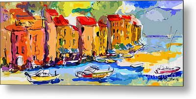 Abstract Portofino Italy And Boats Metal Print by Ginette Callaway