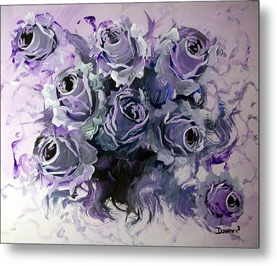 Abstract Roses Bouquet Metal Print