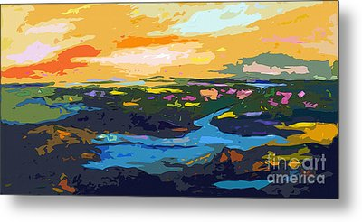 Abstract Sunset Landscape Waterways Metal Print by Ginette Callaway