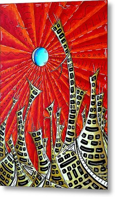 Abstract Surreal Art Original Cityscape Painting The Eternal City By Madart Metal Print