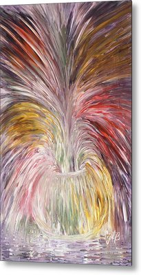 Abstract Vase And Energy Mouvement Metal Print by Georgeta  Blanaru