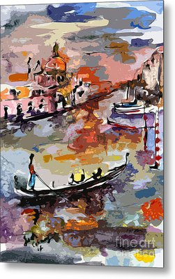 Abstract Venice Italy Gondolas Metal Print by Ginette Callaway