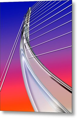 Abstract Wired Steel Arc On Rainbow Neon Metal Print by Elaine Plesser