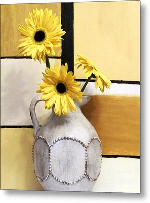 Abstract Yellow Daisies Metal Print by Marsha Heiken