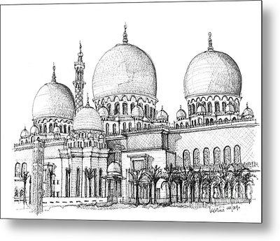 Abu Dhabi Masjid In Ink  Metal Print by Adendorff Design
