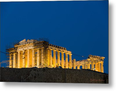 Acropolis View In Greece Metal Print by Johnny Sandaire