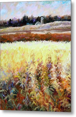 Metal Print featuring the painting Across The Cornfield by Bonnie Goedecke