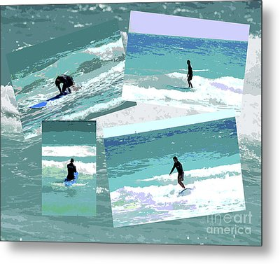 Action Surfing Print Metal Print by ArtyZen Kids