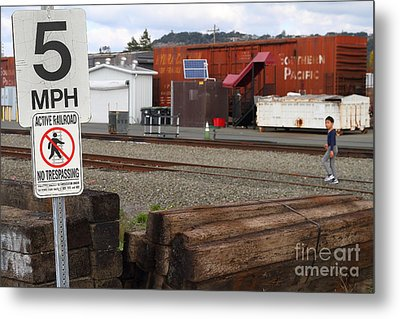 Active Railroad . No Tresspassing Metal Print by Wingsdomain Art and Photography