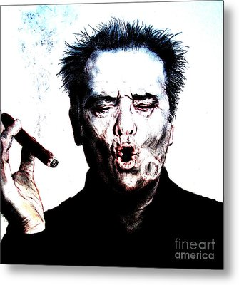 Actor Jack Nicholson Smoking  II Metal Print by Jim Fitzpatrick