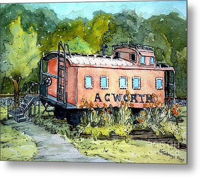 Metal Print featuring the painting Acworth Caboose by Gretchen Allen