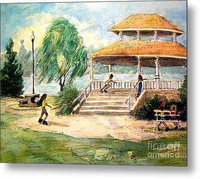 Metal Print featuring the painting Acworth Park by Gretchen Allen