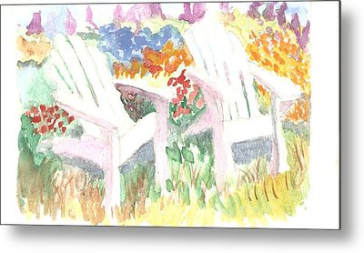 Adirack Chairs In The Garden  Metal Print by Thelma Harcum