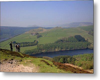 Adult Walkers In The Upper Derwent Valley, Overlooking Ladybower Reservoir, Peak District National Park, Derbyshire, England, Uk, Metal Print by Dave Porter Peterborough Uk