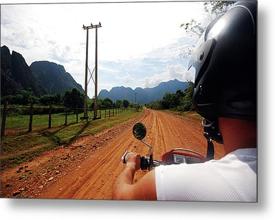 Adventure Motorbike Trip In Laos Metal Print by Thepurpledoor