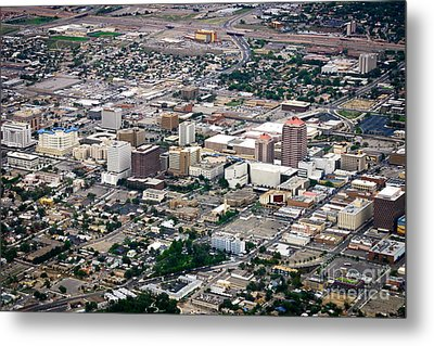 Aerial View Of Albuquerque Metal Print by Lawrence Burry