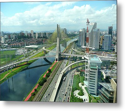 Aerial View Of Bridge Estaiada Metal Print by Felipe Borges