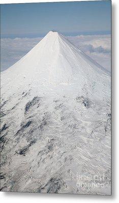 Aerial View Of Glaciated Shishaldin Metal Print by Richard Roscoe