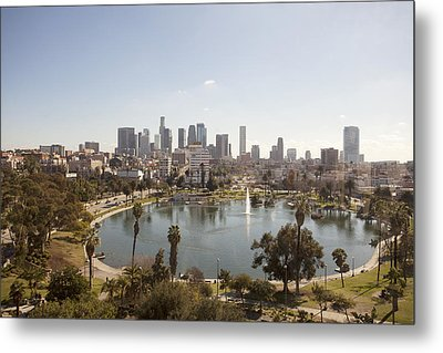 Aerial View Of Lake In Urban Park Metal Print by Cultura Travel/Zak Kendal
