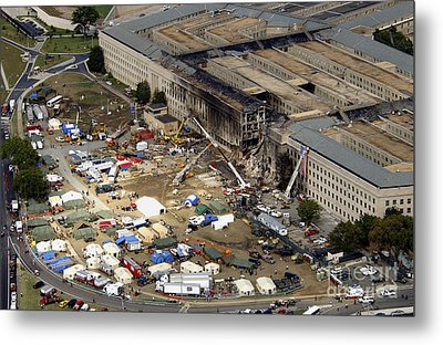 Aerial View Of The Terrorist Attack Metal Print by Stocktrek Images