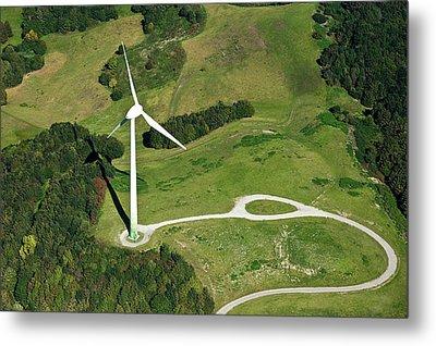 Aerial View Of Wind Turbine Metal Print by Daniel Reiter