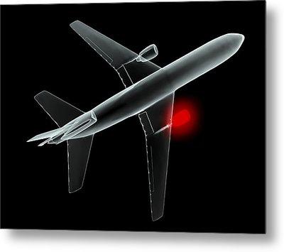 Aeroplane, Simulated X-ray Artwork Metal Print by Christian Darkin