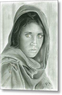 Afghan Girl In Charcoal Metal Print