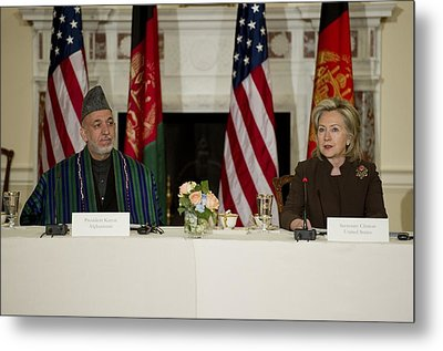Afghan President Hamid Karzai And Sec Metal Print by Everett