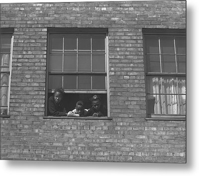 African American Children At Window Metal Print by Everett