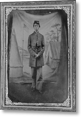 African American Soldier Posed In Front Metal Print by Everett