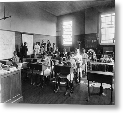 African American Students In Geography Metal Print by Everett