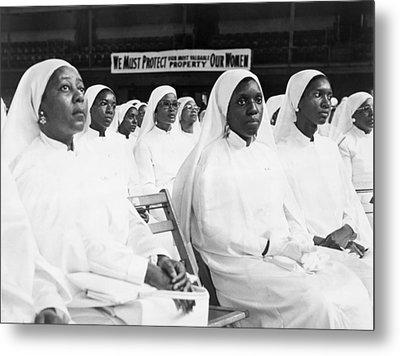 African American Women Dressed In White Metal Print by Everett