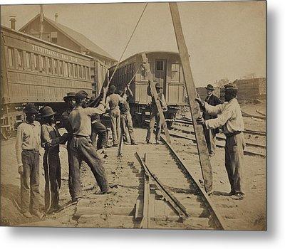 African American Work Crew In Northern Metal Print by Everett