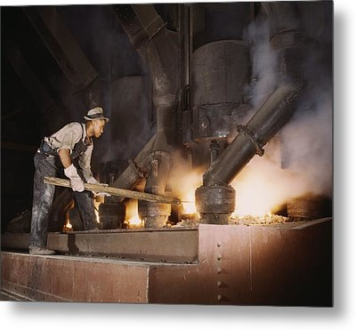 African American Worker At An Electric Metal Print by Everett