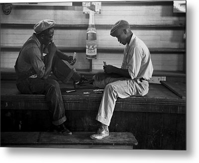 African American Young Men Play A Card Metal Print by Everett
