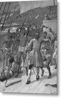 African Captives Fight Against A 18th Metal Print by Everett