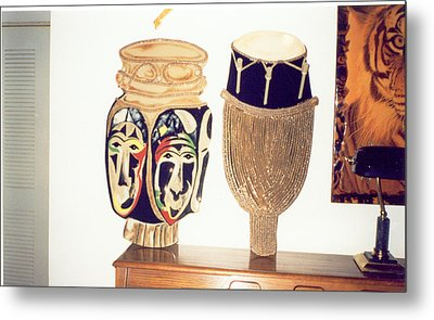 African Drums Metal Print by Val Oconnor