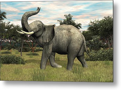 Metal Print featuring the digital art African Elephant by Walter Colvin